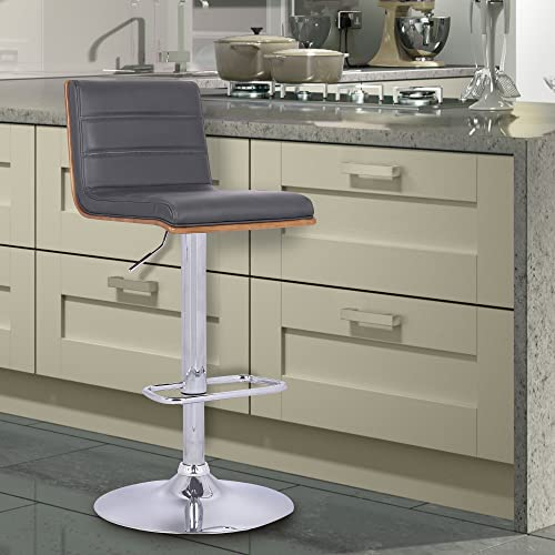 Armen Living Aubrey Barstool in Grey Faux Leather, Walnut Wood and Chrome Finish