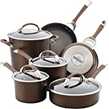 Circulon 84596 Symmetry Dishwasher Safe Hard Anodized Nonstick Cookware Pots and Pans Set, 10-Piece, Chocolate