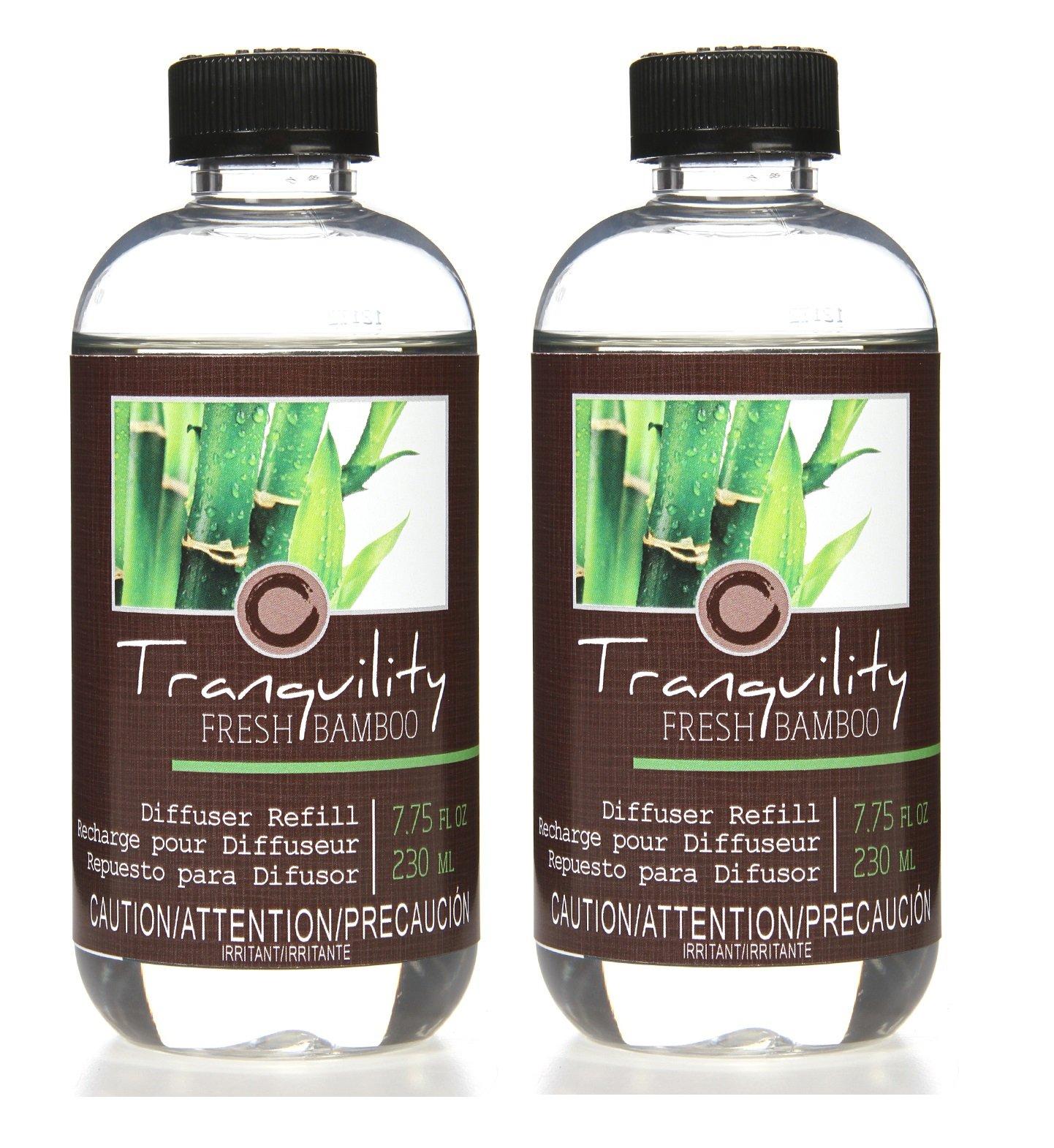 Hosley Aromatherapy Set of 2 Premium Fresh Bamboo Reed Diffuser Refills Oil, 230 ml (7.75 fl oz) Made in USA. Bulk Buy. Ideal Gift for Weddings, Spa, Reiki, Meditation Settings O4