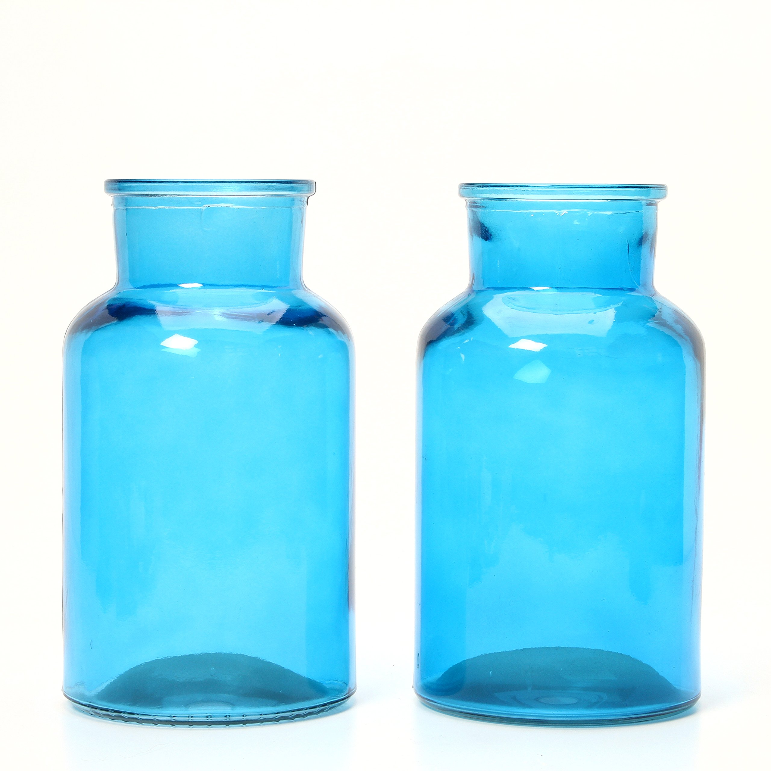 Hosley's Set of 2 Blue Glass Vases - 10'' High. Ideal Gift for Special Occasion; for Spa, Nautical, Family room, Restaurant, Storage, Votive Candle Gardens O7