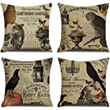 RUOAR Pack of 4 Vintage Halloween Throw Pillow Covers for Owl/Crow/Pumpkin/Skull Throw Pillow Covers Halloween Cushion…