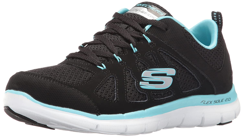 Skechers Women's Flex Appeal Simplistic Sneaker B01EOSUGBG 8.5 B(M) US|Black Turquiose