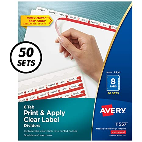Avery Index Maker Clear Label Dividers, 8 5 x 11 Inch, 8 Tab, White Tab, 50  Sets (11557)