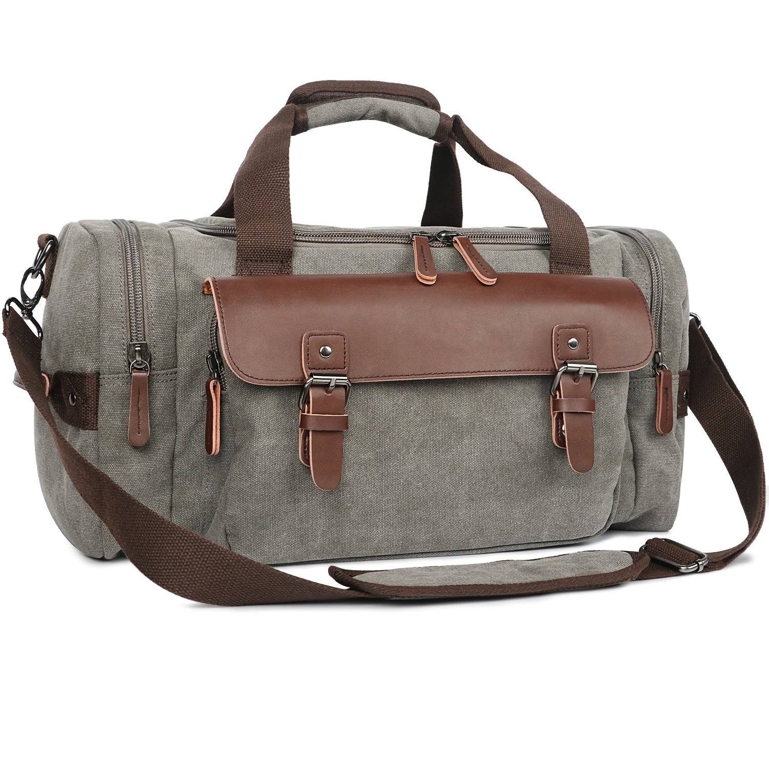 Oflamn Duffle Weekender Bag for Men Pu Leather Canvas Travel Overnight Carry on Bag with Multi-pockets (Grey)