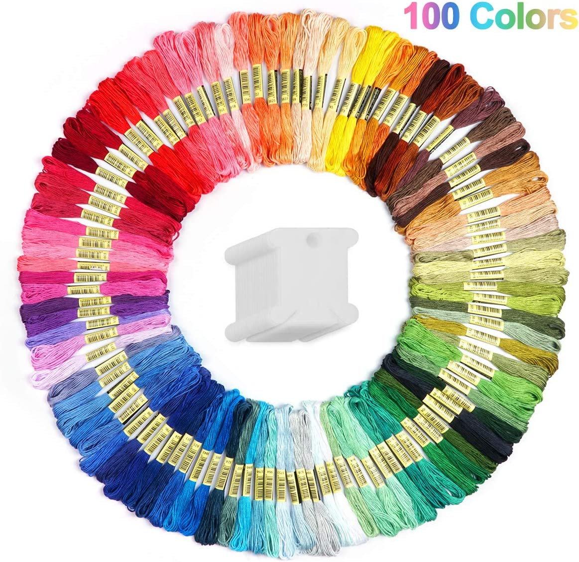 Cuttte 100 Colors Embroidery Floss with 20 Pieces Floss Bobbins, Numbered Embroidery Thread Friendship Bracelets Strings Embroidery Strings for Arts and Crafts