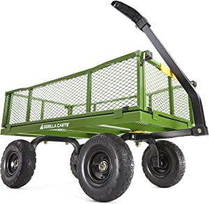 Gorilla Carts 4 Cu. Steel Utility Cart with No-Flat Tires, Green (Amazon Exclusive)
