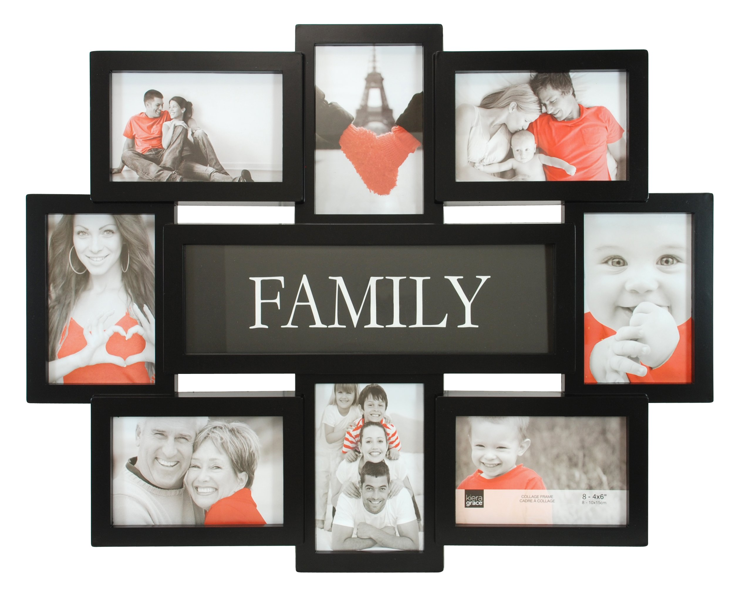kieragrace Family Collage Frame, 17.5 by 22 Inch Holds 8-4 by 6 Inch Photos, Black by kieragrace