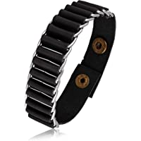Asmitta Black Leather with High Stainless Steel Silver Plated Bracelet for Men