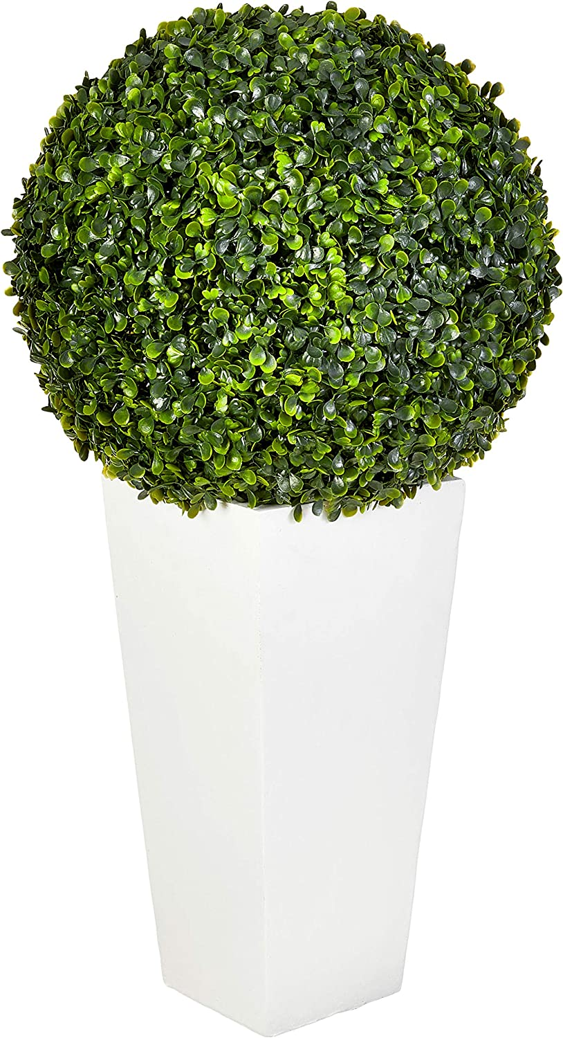 Nearly Natural 6404 Artificial Plant Indoor Outdoor 28â Boxwood Topiary Ball In White Tower Planter Green 15 Dx15 Wx28 H