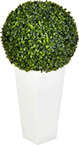 """Nearly Natural Artificial Plant (Indoor/Outdoor) 28"""" Boxwood Topiary Ball in White Tower Planter, Green,15""""Dx15""""Wx28""""H"""
