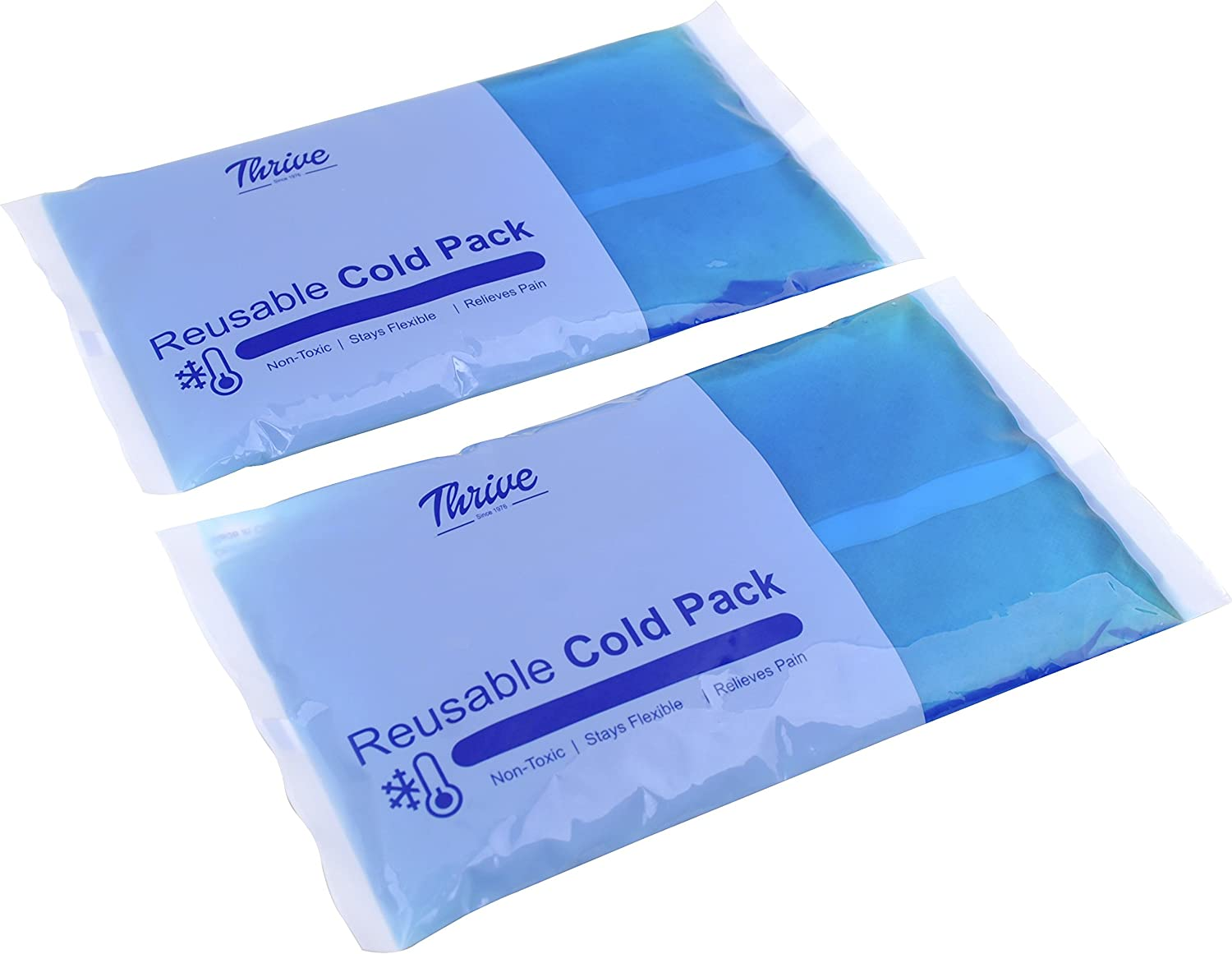 "Reusable Gel Ice Cold Pack Compress – (2 Pack) – 5"" x 9.5"" - Reusable Vinyl Provides Instant Pain Relief, Rehabilitation and Therapy from Injuries Like Shoulder, Back, Knee, Neck, Ankle"