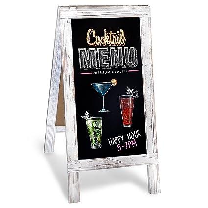 Chalkboard A-Frame with Rustic Vintage Gray Wash Frame Sandwich Board |  20in x 40in Blackboard | Great Chalk Board Sign. Use for Sidewalk Menu,  Home, ...