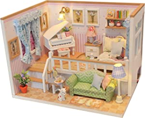 TANLITA Miniature DIY Doll House Kit with Furniture and LED, Wooden Dollhouse with Dust Cover. DIY Art Craft House,