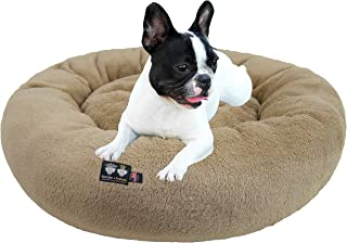 product image for Ultra Plush Deluxe Comfort Pet Dog & Cat Taupe Snuggle Bed (Multiple Sizes) - Machine Washable, Made in the USA, Reversible, Durable Soft Fabrics