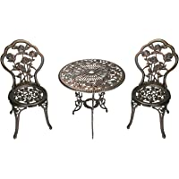 "Oakland Living Summer Rose 3 Piece Bistro Set with 23.5"" Cast Aluminum Table and 2 Chairs, Antique Bronze"