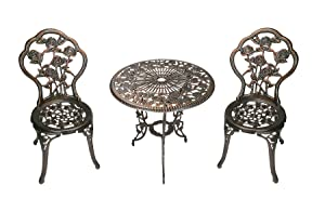 Oakland Living 3-Piece Rose Bistro Set with 23.5-Inch Cast aluminum Top Table
