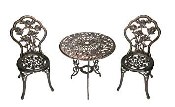 Oakland Living 3 Piece Rose Bistro Set With 23.5 Inch Cast Aluminum Top  Table