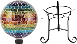 Lily's Home Colorful Mosaic Glass Gazing Ball, Designed with a Stunning Holographic Petals Mosaic Pattern with a 9-inch Tall Metal Stand