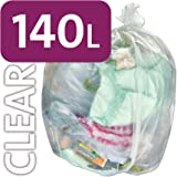 Alina, sacco per rifiuti da 140 L, in polietilene, trasparente, resistente, per bidone della spazzatura con ruote, sacco compattatore di rifiuti ENSA, grande sacco in plastica per l'immondizia, 25 sacks