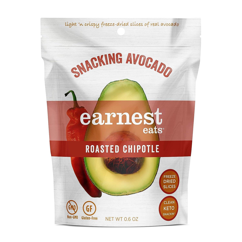 Earnest Eats Snacking Avocado, Roasted Chipotle Flavor, Freeze Dried Food, Keto Snack, Sugar Free, Non-GMO, Gluten-Free, Vegan, 8 single serve bags