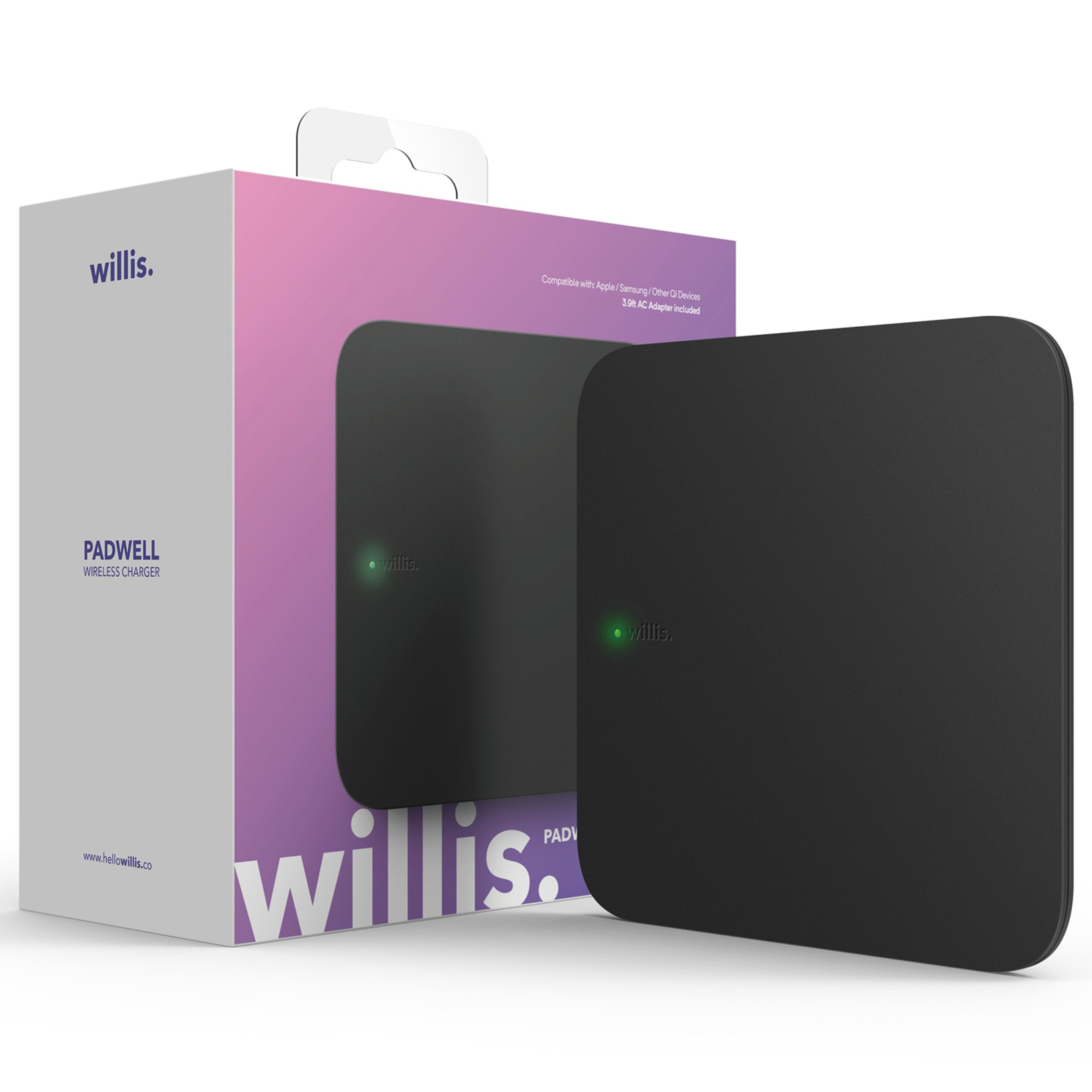 Willis Padwell Fast Wireless Charger [Qi Certified Charging Pad] - 7.5W for iPhone X, 8, 8+ / 10W for Galaxy S9, S9+, S8, Note8 & all Qi-Enabled Android Devices (Adapter Included) - Black 11x11x1.7