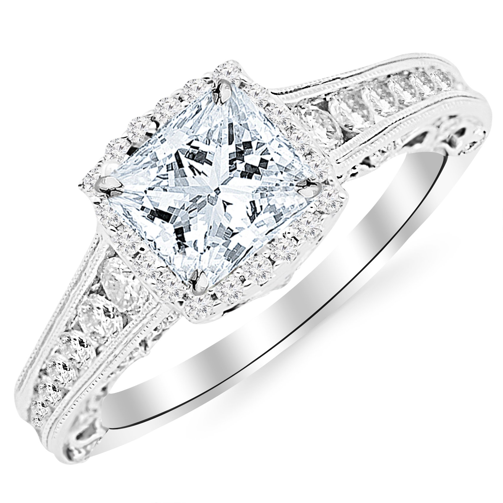 1.75 Carat 14K White Gold Vintage Halo Style Channel Set Round Brilliant Diamond Engagement Ring Milgrain with a 1 Carat Moissanite Center