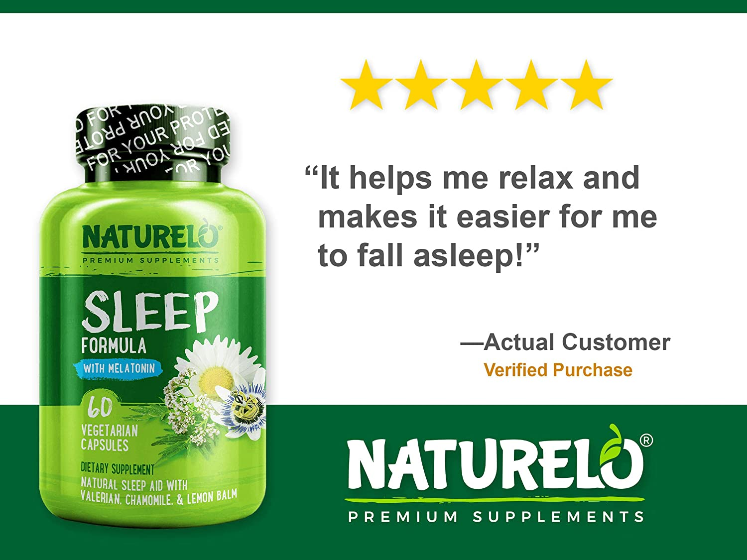 Amazon.com: NATURELO Sleep Formula - with Valerian, Chamomile, Passion Flower, Lemon Balm, Hops & Melatonin - Best Natural Sleeping Aid - Fast Dissolve - 60 ...