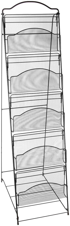 Safco Black Onyx Mesh Literature Floor Rack-Floor-46Heightx18.5Widthx12.5Depth-5 Pocket(s)-6 Compartment(s)-Steel-Black S.P. Richards CA 6461BL