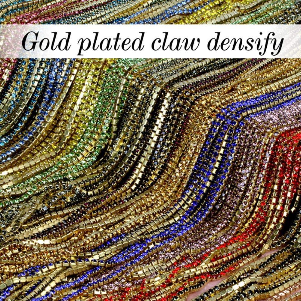 CTOBB 16 Color Amable 3.6Meter / Roll Base Dorada Cristal Transparente SS6 (2mm) Base Dorada intensiva DIY Accesorios de Belleza Cadena de Diamantes de imitación, Champagne