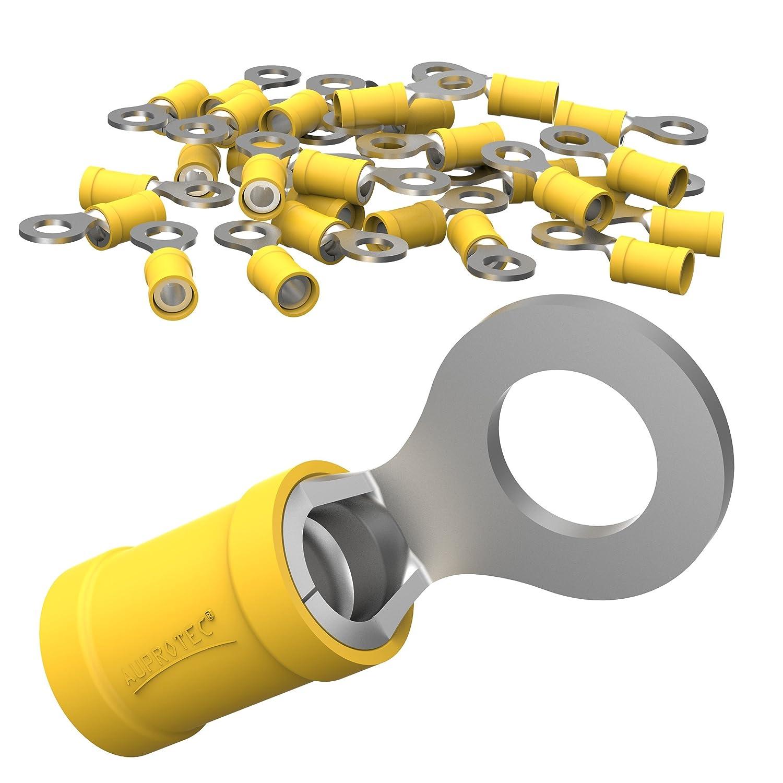 AUPROTEC 10x Connettore ad Occhiello 4, 0 - 6, 0 mm² giallo foro Ø M6 RV Capicorda Preisolati PVC Connettori ad Anello Rame Stagnato Terminali Crimp per Cavi Fili Elettrici AU-RV