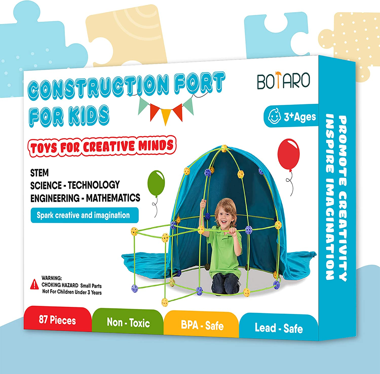 BOTARO Fort Building Kits for Kids Tiny Land 87 Pieces Creative Fort Toy for 3 Learning Toys DIY Building Castle Tunnel Play Tent Indoor /& Outdoor Years Old Boy /& Girls Blanket Included