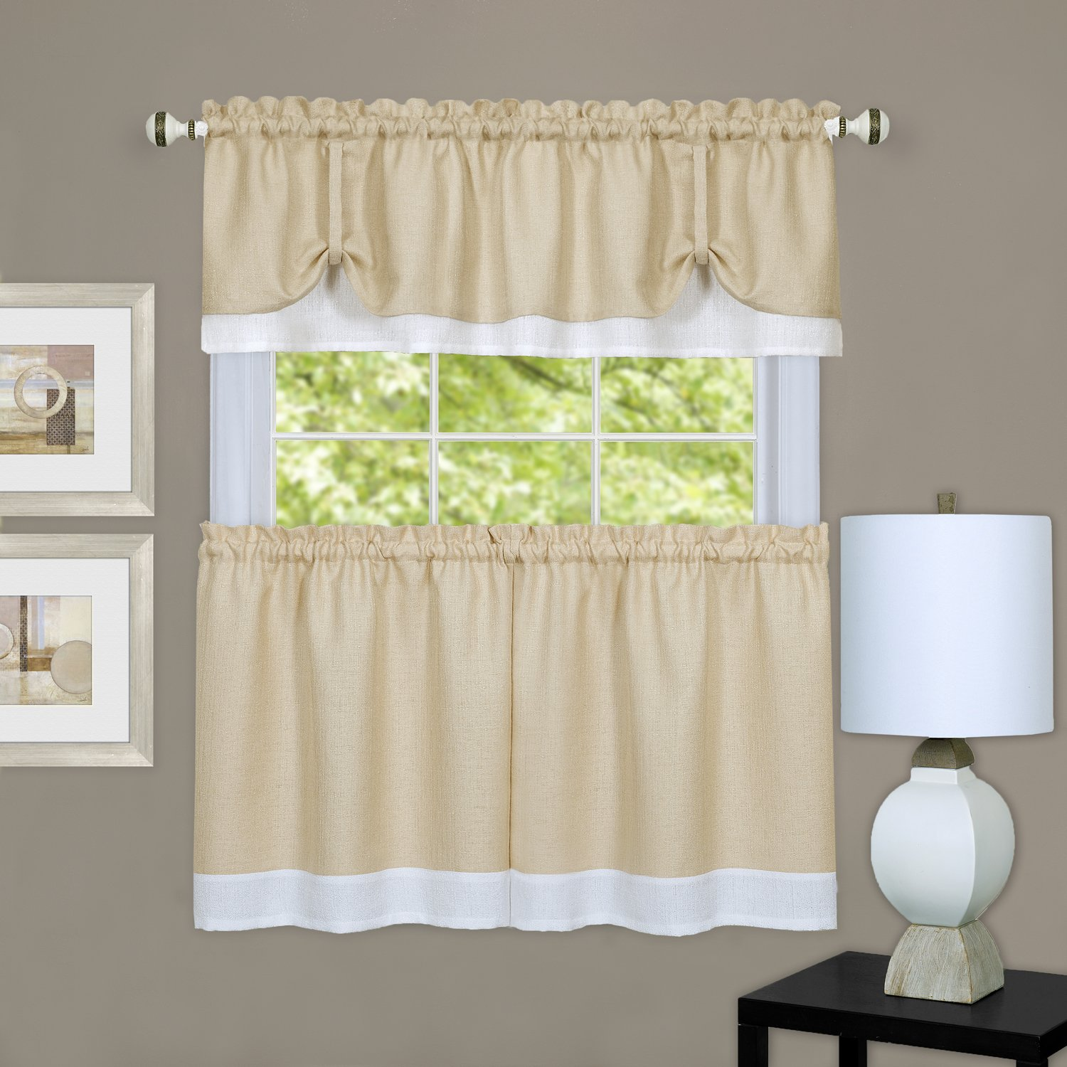 "Achim Home Furnishings DRTV36TW12 Darcy Window Curtain Tier Pair & Valance Set, 58"" x 36"" with 14"" Valance, Tan/White, Pair, Tan & White"