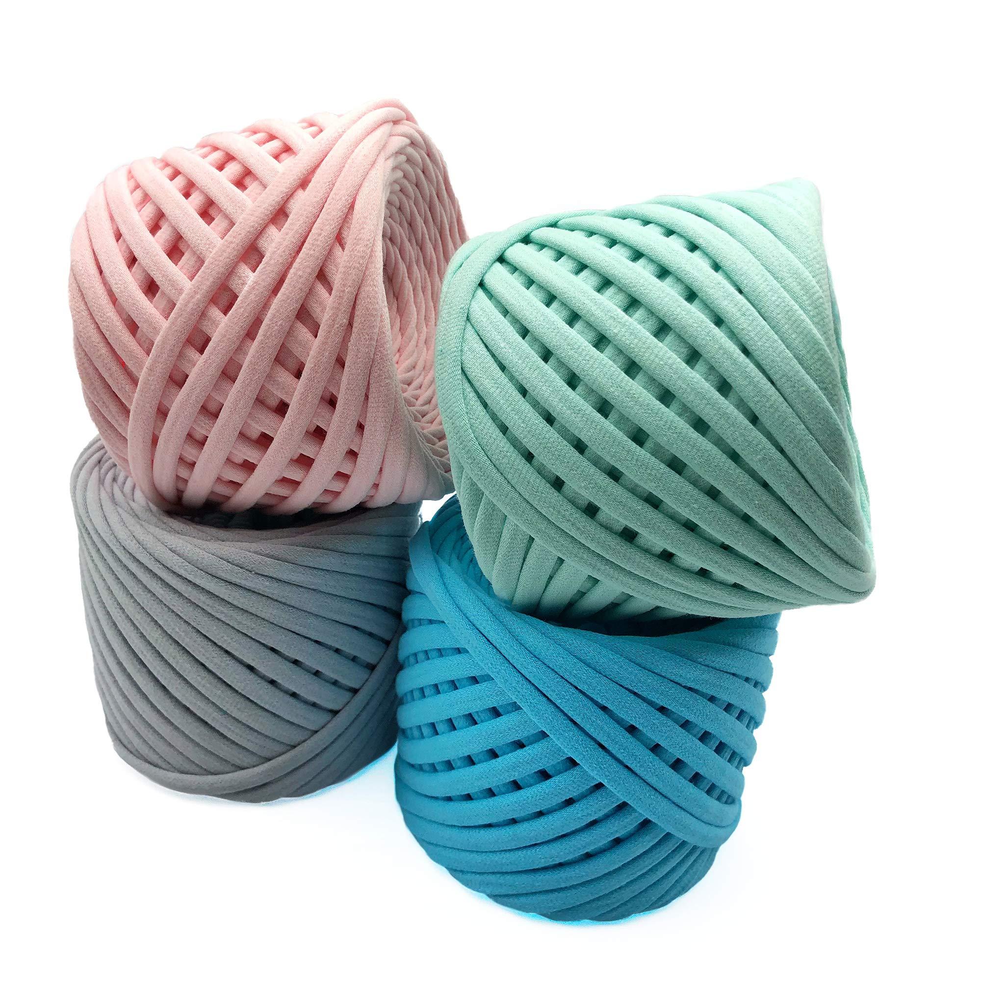 T-Shirt Yarn Fettuccini Zpagetti Set - 4 Balls Total of 218 Yards - Tshirt Yarn Kit for Crocheting - Ribbon Yarn 100% Cotton - Knitting Yarn Ball - T Yarn Organic - Macrame T-Yarn Venice