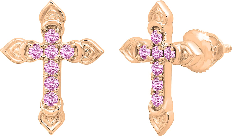 DazzlingRock Collection 14 quilates oro rosa redonda Pink Safiro rosa