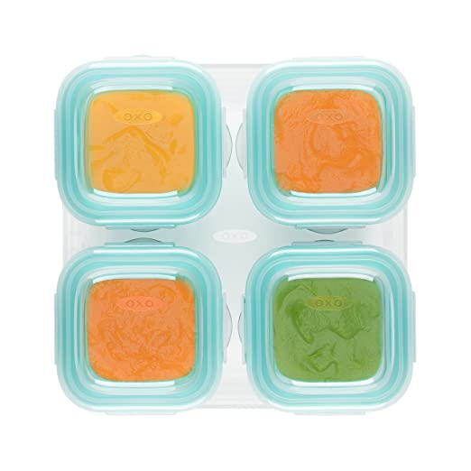 OXO Tot Glass Baby Blocks Food Storage Containers, Teal, 4 Oz 61130400