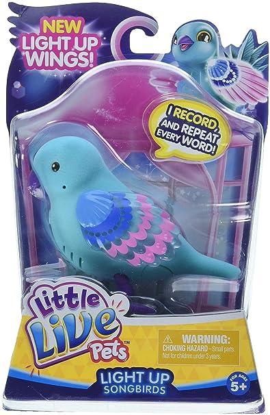 Little Live Pets Character Light-Up Songbirds – Shelly Shimmer – Vögelchen mit Aufnahmefunktion und leuchtenden Flügeln