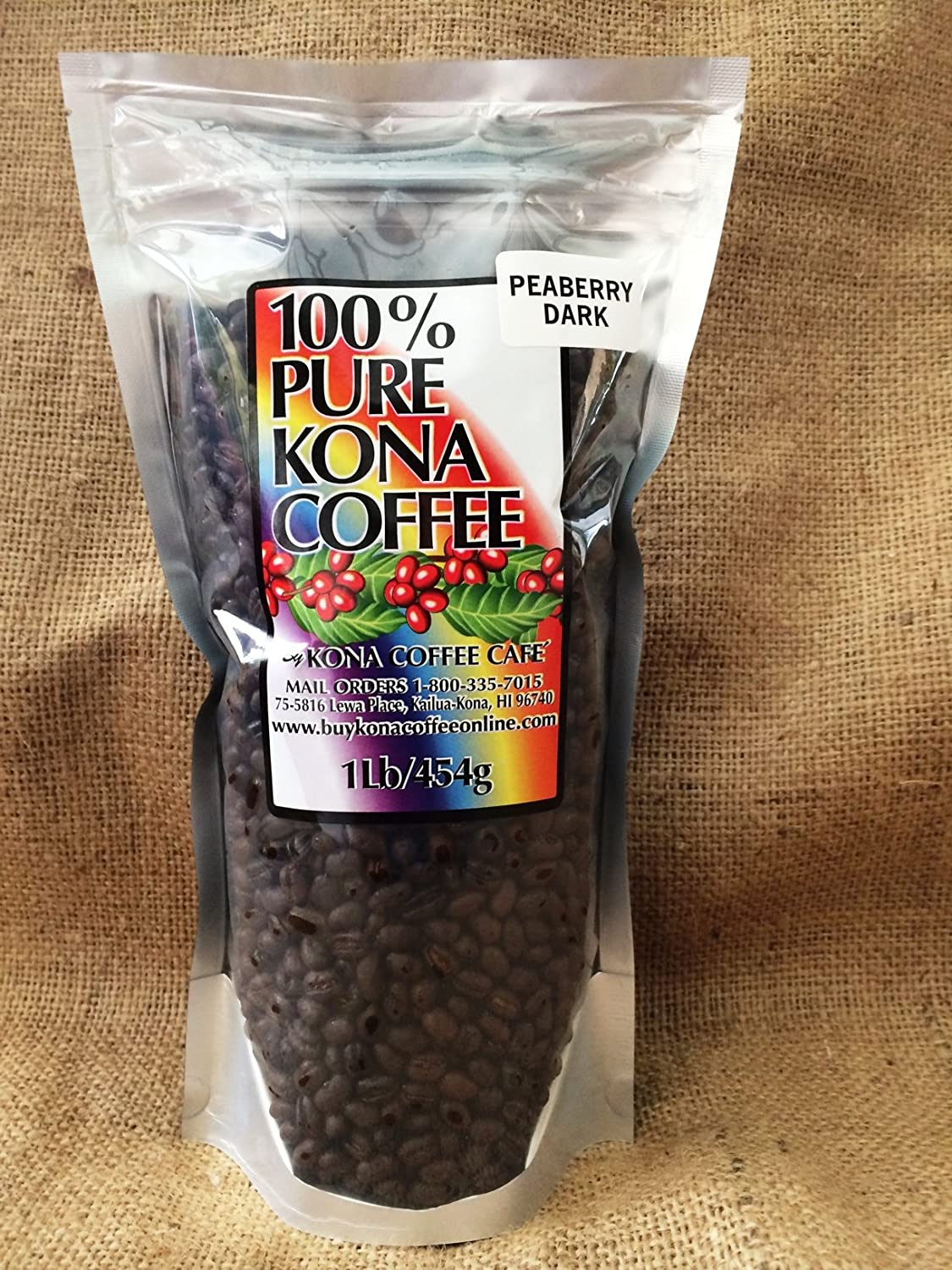 100% Kona Peaberry Dark Roast Whole Bean Coffee - 1 Pound 81xIv9tYzHL