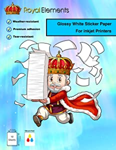 Royal Elements Glossy Printable Vinyl for Inkjet Printers - 10 Waterproof Sheets