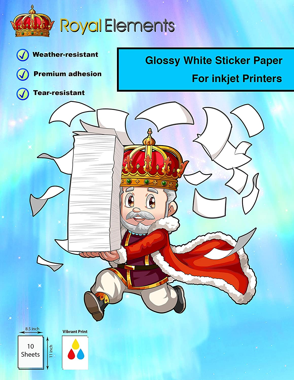 Amazon com royal elements waterproof printable vinyl sticker paper for inkjet printer 10 sheets glossy white office products