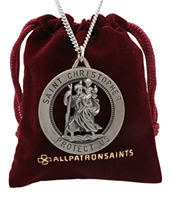 Mens large saint christopher round cut out medal and necklace solid mens large saint christopher round cut out medal and necklace solid 925 sterling silver 24 aloadofball Choice Image