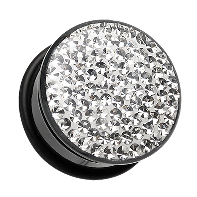 Clear Brilliant Sparkles Black Body Single Flared Ear Plug Sold as a Pair