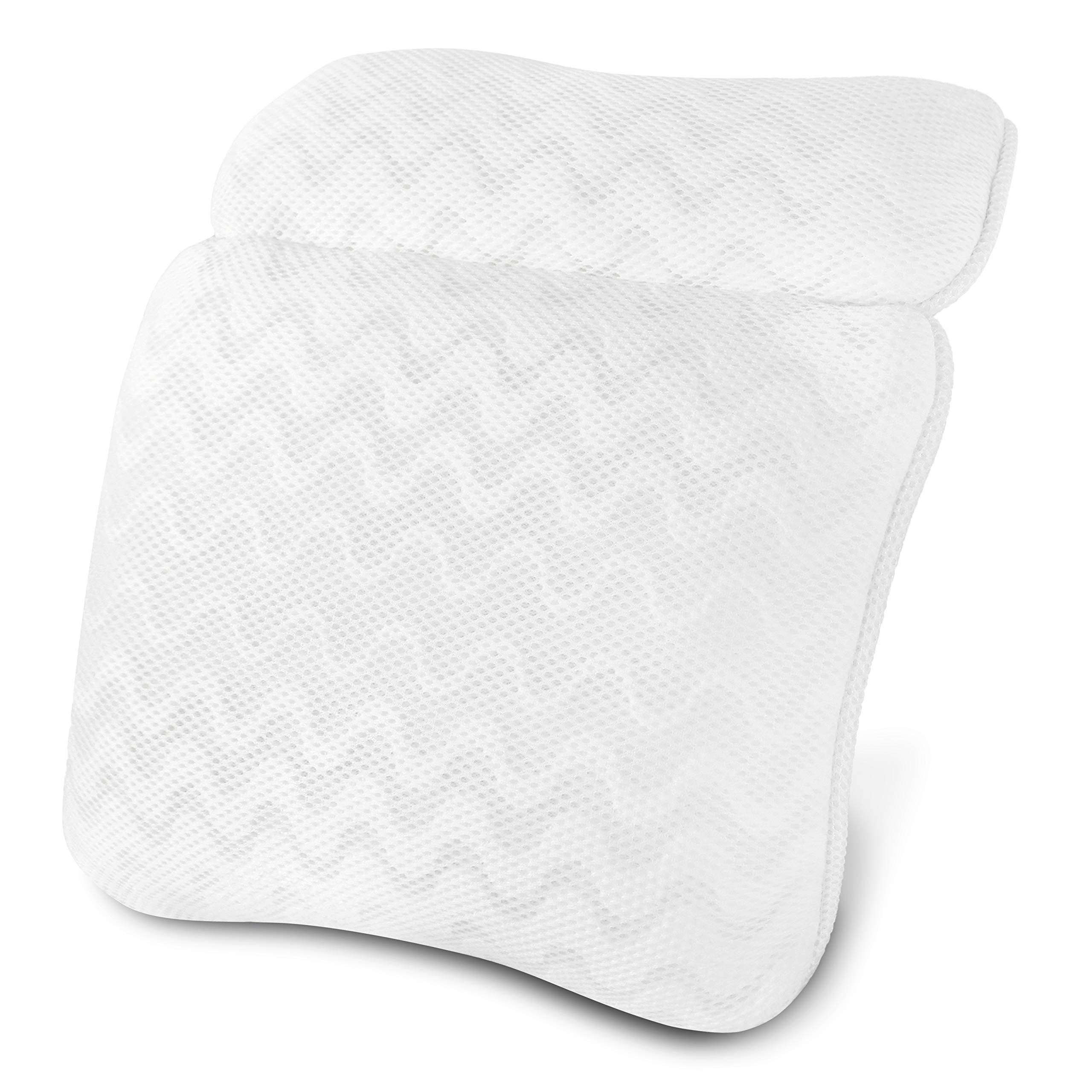 Bath Pillow for Tub, Spa Bathtub Pillow for Neck Head and Back Support, Fits Any Tub, Straight Back Tub, Soaking Tub,Jacuzzi Hot Tub, 3D Air Mesh Technology, Machine Washable, 6 Non-Slip Suction Cups by Shengsite