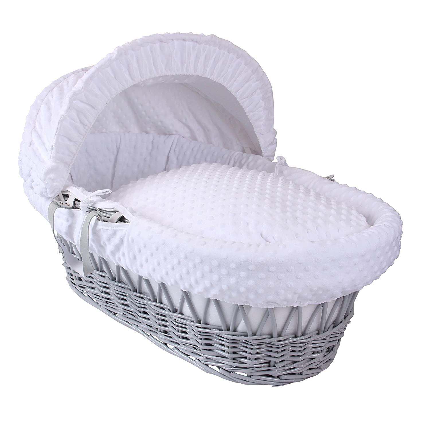Dimple Grey Wicker Moses Basket - White Clair de Lune CL4730GW