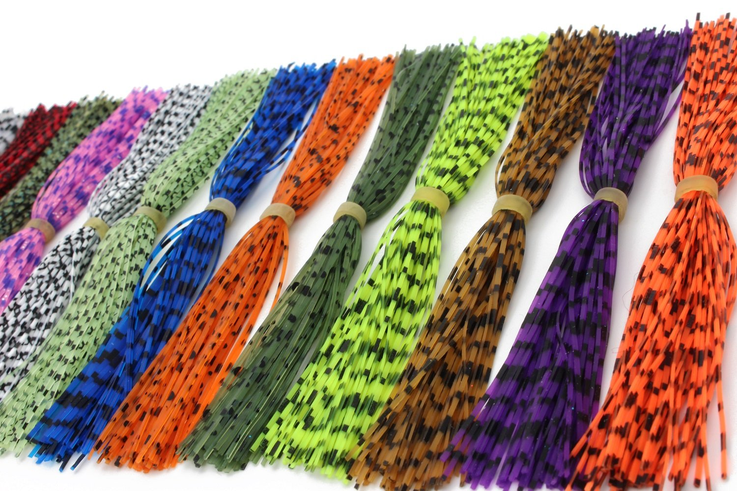 Tigofly 15 Bundles 13cm Barred Color Silicone Skirts Legs Pearl Flake DIY Spinner Bait Squid Rubber Thread Fly Tying Materials