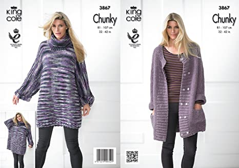 9bf3f559cbd9 King Cole Ladies Chunky Knitting Pattern Womens Knitted Lightweight ...
