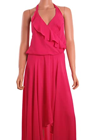 2b152557f3 Haute Hippie Sleeveless Cocktail long Hi-Lo Maxi Dress Fuschia Hot Pink (X  Small
