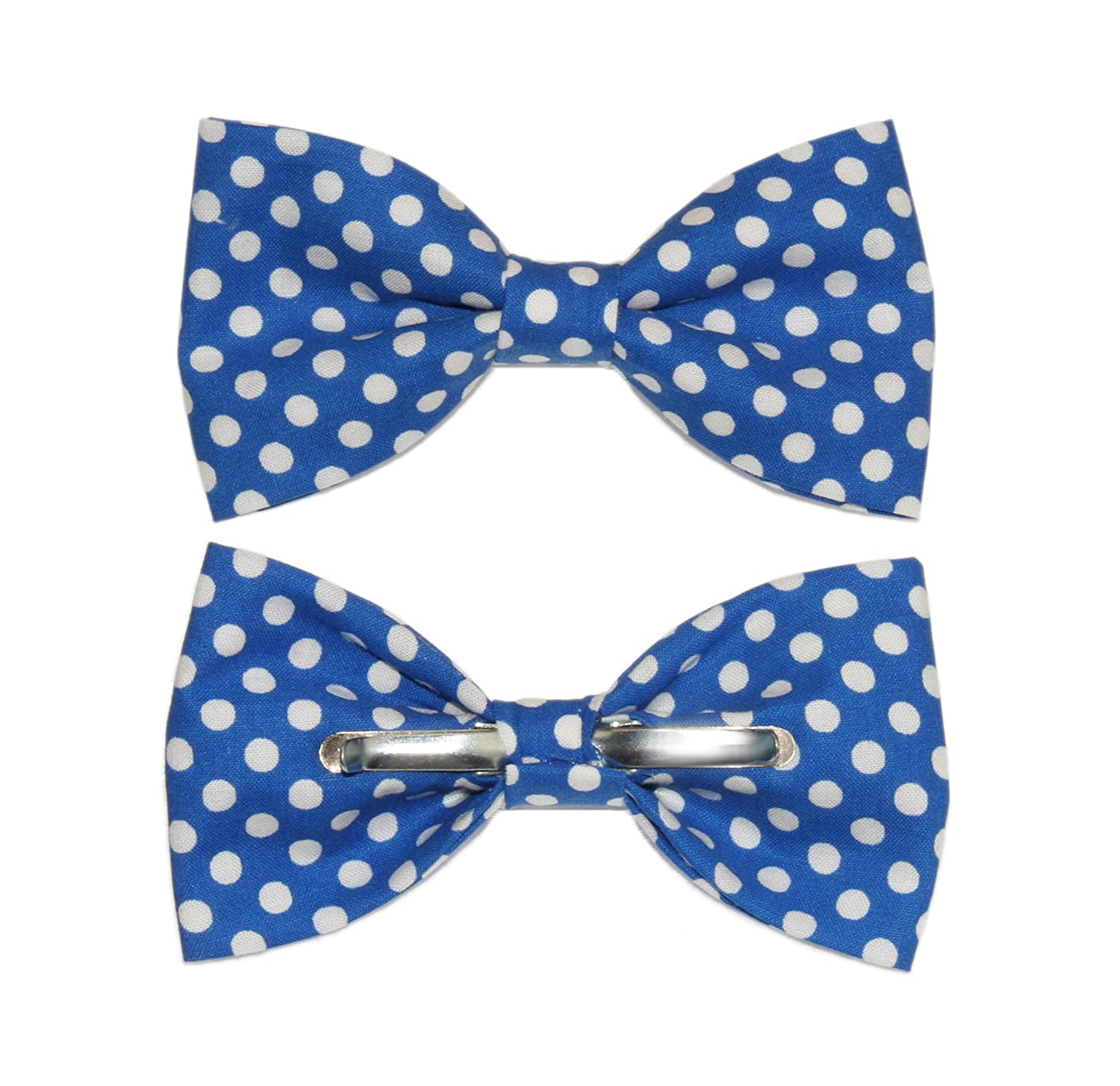 amy2004marie Mens Blue With White Dots Clip On Cotton Bow Tie