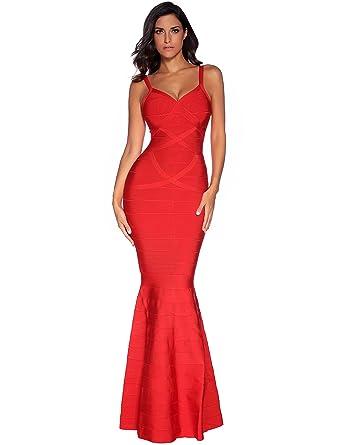 599e2166592f Meilun Womens Sleeveless Maxi Bandage Dress Strap Swing Dress X-Small Red