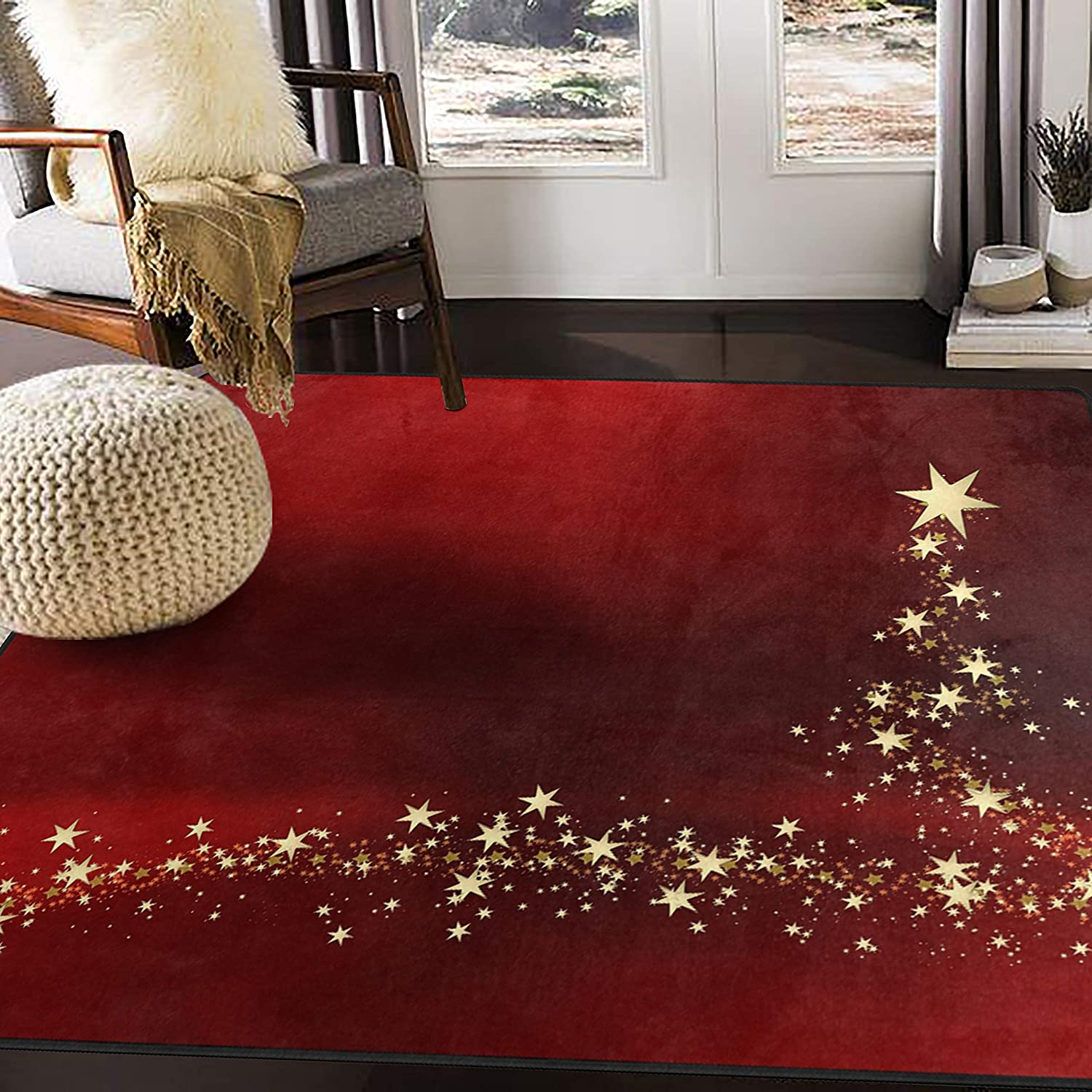 Alaza Christmas Gold Star Red Area Rug Rugs For Living Room Bedroom 7 X 5 Home Kitchen