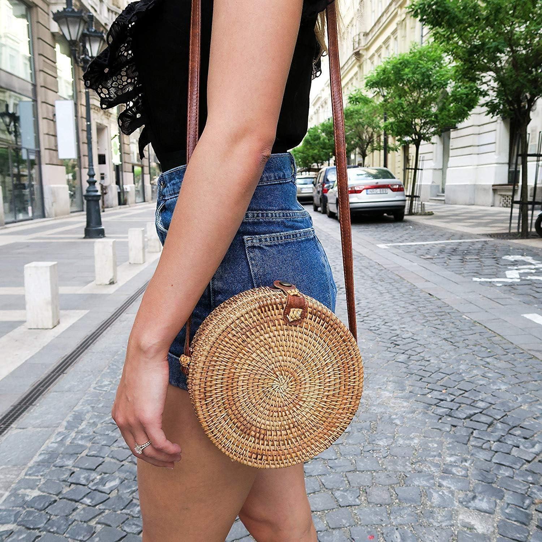 Mdsfe Runde Rattan Handtasche Sommer Stroh Tasche handgewebte Strand Umhängetasche weibliche Umhängetasche - 18x8 cm, a1 18x8 Cma3-a28